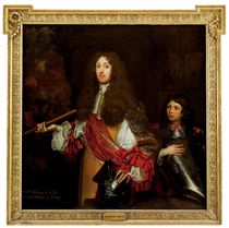 Portrait of Sir William Widdrington, 2nd Baron Widdrington of Blankney (d.1675), standing three-quarter-length, in a buff coat with white sleeves with red bows, his hand resting on a helmet and holding a baton, a young boy, possibly his son or page, at his side holding a breastplate, a view to a battle beyond