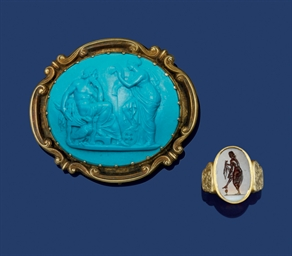 A 19th century glass cameo bro