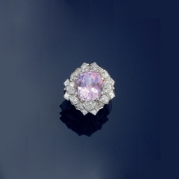A kunzite and diamond cluster