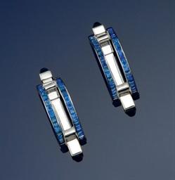 A pair of sapphire cufflinks