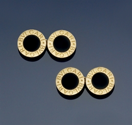A pair of onyx set cufflinks,