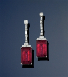 A pair of tourmaline and diamo