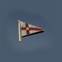 A diamond and ruby burgee broo