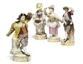 TWO PAIRS OF MEISSEN FIGURES E
