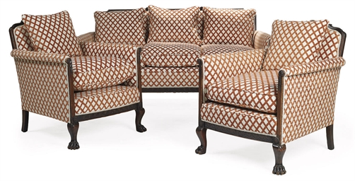 A MAHOGANY THREE PIECE SUITE
