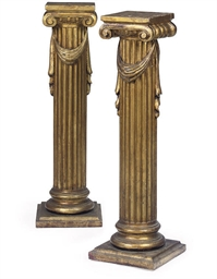 A PAIR OF GILTWOOD PEDESTALS