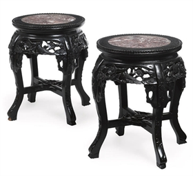 A PAIR OF EBONISED AND MARBLE