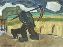 A man with a sickle and his dog