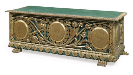 A PARCEL-GILT AND GREEN PAINTE