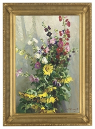 Sunflowers and digitalis