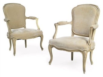A PAIR OF CREAM PAINTED BEECH