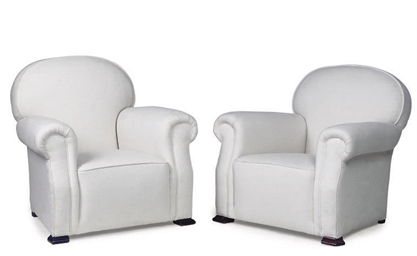 A NEAR PAIR OF EASY ARMCHAIRS