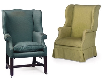 TWO WING-BACK ARMCHAIRS