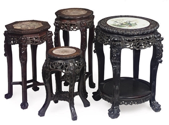 A GROUP OF FOUR CHINESE CARVED