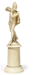 A GERMAN IVORY FIGURE OF THE P