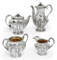 A VICTORIAN SILVER FOUR-PIECE TEA AND COFFEE SET