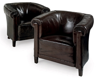 A PAIR OF LEATHER TUB-CHAIRS