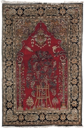 A fine silk Qum prayer rug & w
