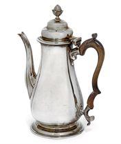 A GEORGE II BALUSTER SILVER COFFEE POT