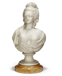 A FRENCH ALABASTER BUST OF MAR