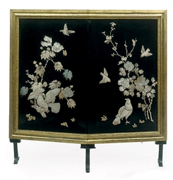 A PAIR OF JAPANESE LACQUER PANELS INSET WITH MOTHER-OF-PEARL AND BONE MOUNTED AS A FIRESCREEN