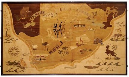 A LARGE MARQUETRY WOOD MAP OF