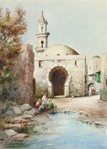 Arabs resting before a mosque