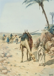Arabs and their camels by a wa