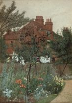 A garden in Chiswick, thought to be the garden of the artist, in full bloom