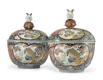 A VERY LARGE PAIR OF ARITAWARE TUREENS AND COVERS