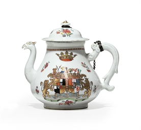 A GERMAN ARMORIAL TEAPOT AND C