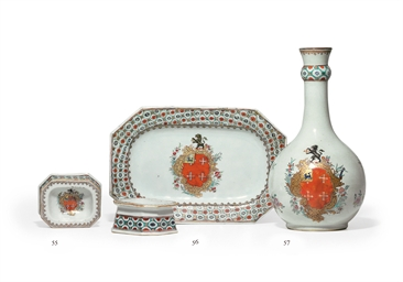 A PAIR OF CHASE ARMORIAL SALTS