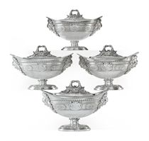 A SET OF FOUR GEORGE III SILVER SAUCE TUREENS FROM THE HOWE SERVICE