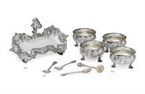 A GEORGE II SILVER SNUFFERS STAND