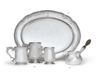 THREE GEORGIAN SILVER MUGS