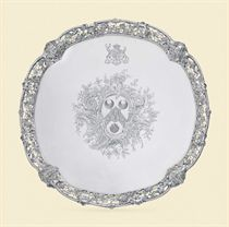 A GEORGE II SILVER SALVER OF AMERICAN INTEREST