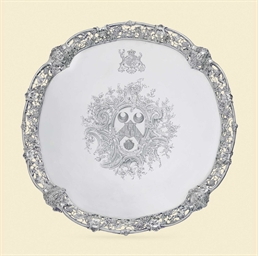 A GEORGE II SILVER SALVER OF A