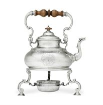 A GEORGE I SILVER KETTLE-ON-STAND