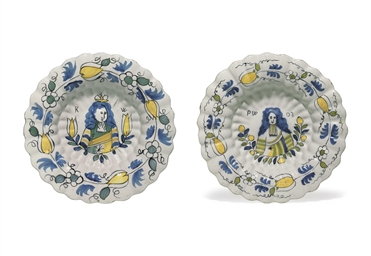TWO DUTCH DELFT SHAPED ORANGIS