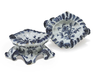 A PAIR OF DUTCH DELFT SALTS
