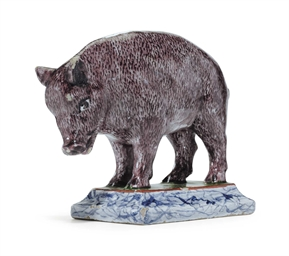 A DUTCH DELFT MODEL OF A PIG O