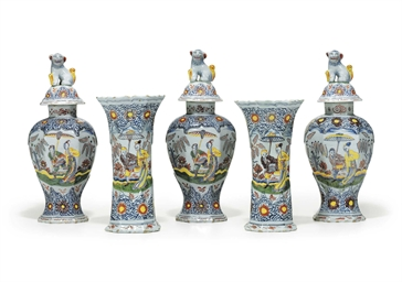 A DUTCH DELFT POLYCHROME GARNI