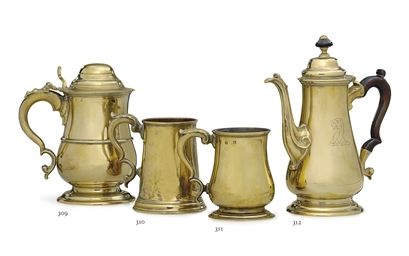 A GEORGE II BRASS COFFEE POT