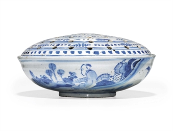 AN ENGLISH DELFT FLOWER BOWL A