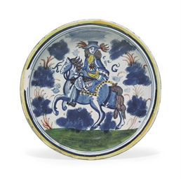 AN ENGLISH DELFT EQUESTRIAN PO
