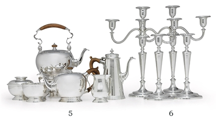 A SIX-PIECE SILVER TEA AND COF
