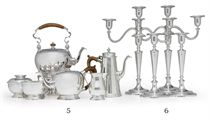 A PAIR OF SILVER THREE-LIGHT CANDELABRA WITH TWO MATCHING CA