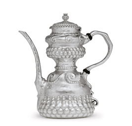 A SILVER BLACK COFFEE POT