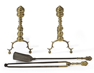 A PAIR OF CAST-BRASS ANDIRONS