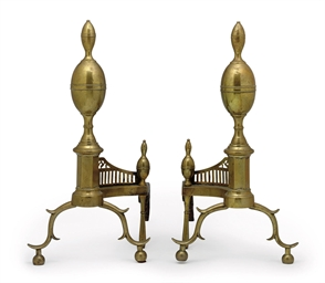 A PAIR OF FEDERAL CAST-BRASS D